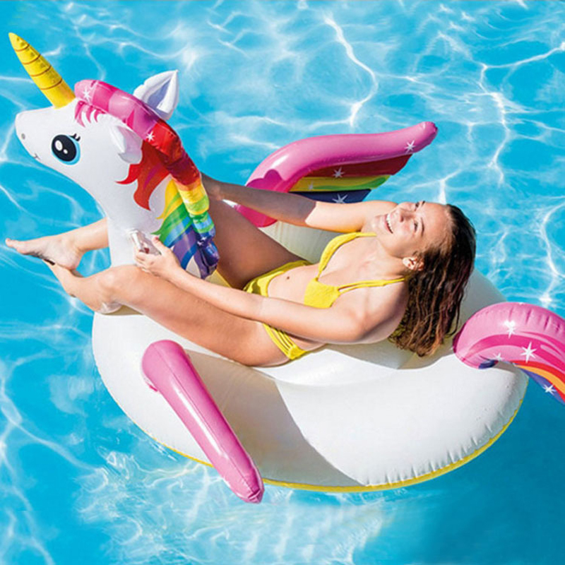 200cm Unicorn Giant Pool Float For Adult Child Baby Ride-On Swimming Ring Water Party Fun Toys Air Bed Inflatable Mattress Boia