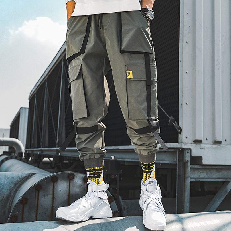 BINHIIRO Spring NEW Men Cargo Pants Cotton Polyester Hip Hop Mid Drawsring Pockets Full Length Men Black Gray Khaki Men Trousers