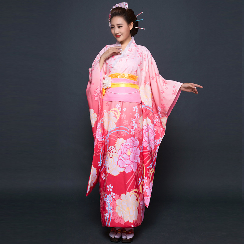Ny parti Cosplay Cotume Japanska Kimono Kvinnor Yukata Japansk - Nationella kläder - Foto 3