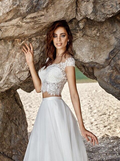Vestidos De Novia Y 2 Piece Wedding Dresses Hippie Boho Dress Chiffon Beach Robe