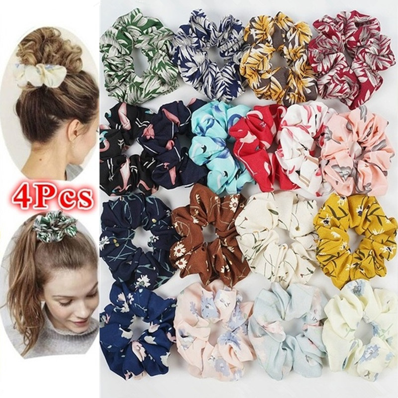 4Pcs/Set Chiffon Flower Hair Bands Hair Scrunchies Flower Hair Ties Elastic Rope Ponytail Holder Scrunchie Pack Hair Accessories