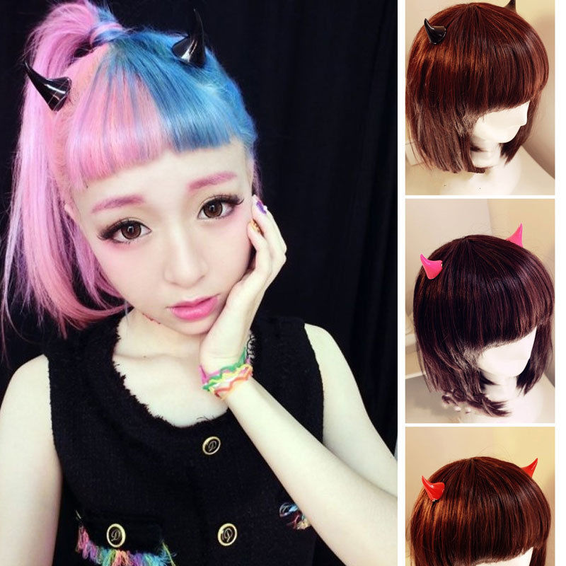 Girl Halloween Stereo Devil Horns Ears Hairpins Barrettes Hair Head Bands Clip Hairgrips Headband Hairband Headwear Accessories