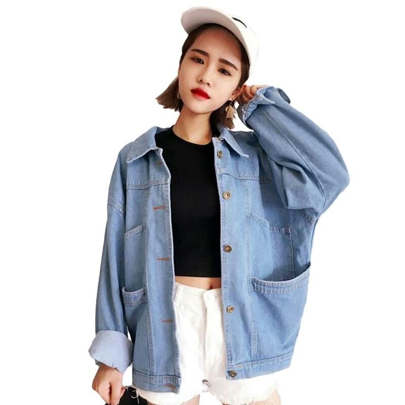 Vintage   Basic   Plus Size Cotton Denim Autumn Jeans Oversize   Jacket   Women Solid Casual Loose Female Coat   Jackets   Coats Outerwear