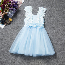 цены Summer Princess Flowers Girls Dresses Toddler Girl Party Child's Wear Tutu Baby Girl Clothing Princess Kids Vest Dress