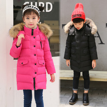2019 Thick Warm Ture Fur Hooded Girls Winter Coat Zipper Solid Child Winter Jacket For Girls Baby Kids White Duck Down Outerwear girls duck pattern hooded jacket