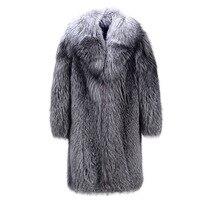New 2017 Faux Mink Coat Man Full Mink Long Windbreaker Mink Fur Coat Striped Coat Winter