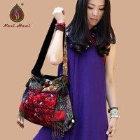 Naxi.Hani brand design handmade beaded pompon canvas women handbags Bohemia Embroidered tassel Shoulder bags
