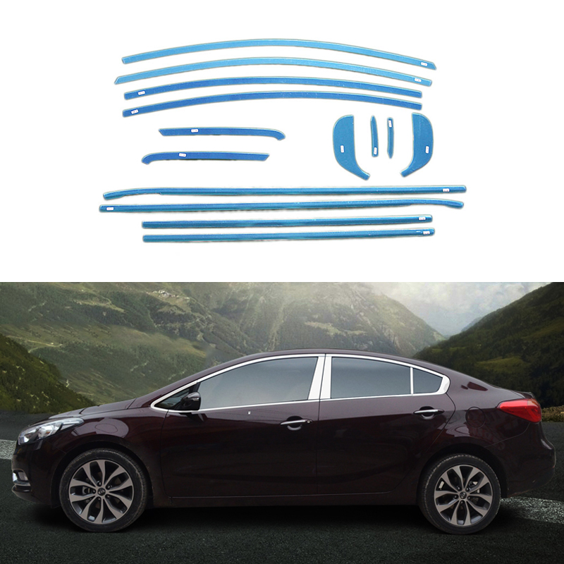 Stainless Steel Car Styling Full Window Trim Decoration Strips Exterior Accessories For Kia K3 Cerato 2013 2014 OEM-14-22 grohe смеситель