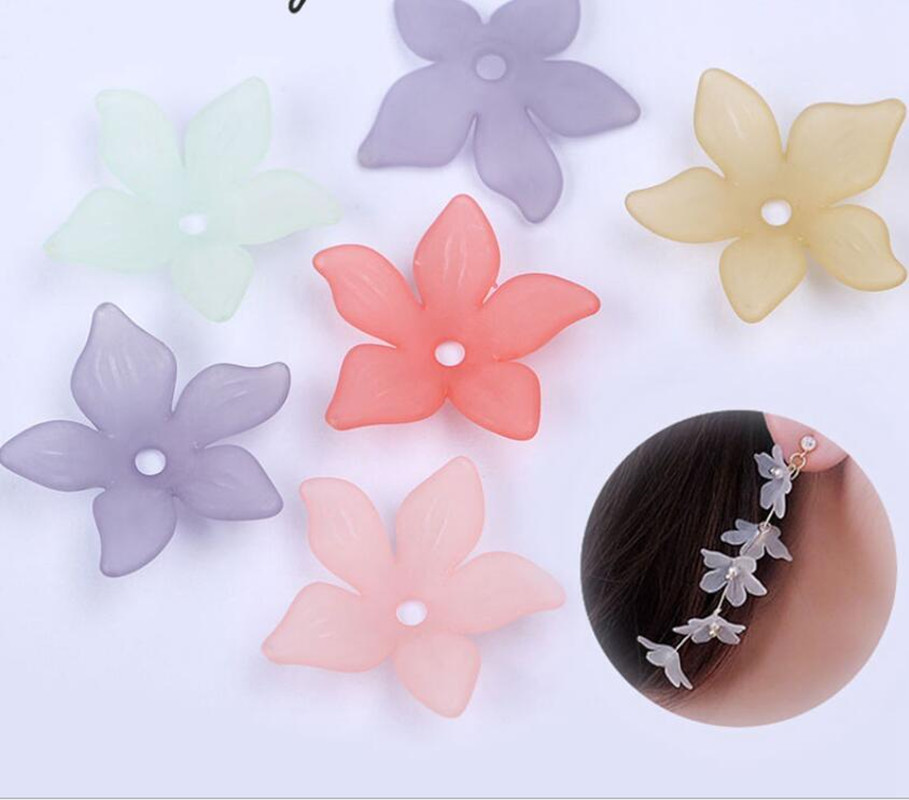 Plastic Beads Acrylic Flower Jewelry-Making Mix-Color Fashion 22mm for 100pcs Y1011 Headdress title=