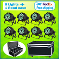 8 Lights + 1 Flight Case 18*15W RGBWA 5-IN-1 LED Par 64 Aluminum LED Par Cans Light 18x15 DMX Led Par Stage Lighting Effect