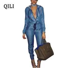 QILI Blue Denim Jumpsuits For Women Hoodies Zipper Lace Up Long Sleeve Jumpsuit Casual Overalls Office Lady Work Jumsuits