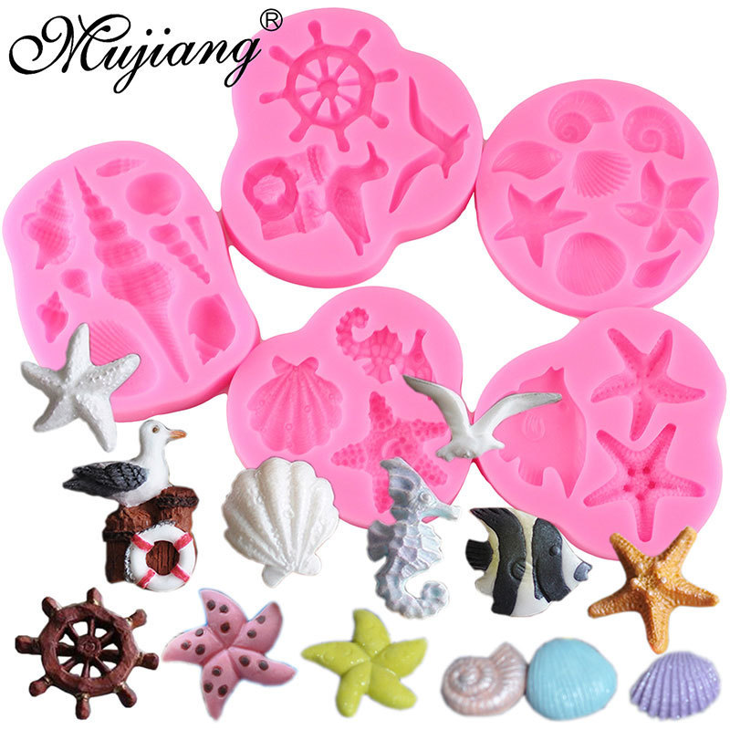 Sea Shell Seahorse Silicone Mold Cupcake Fondant Cake Decorating Tools DIY Starfish Anchor Chocolate Candy Soap Fimo Clay Molds
