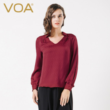 VOA Brand Blusas Mujer Summer Tops Regular 2017 New Fashion Jacquard Silk Beige&Red Dobby Plus Size Blouse Female B1087