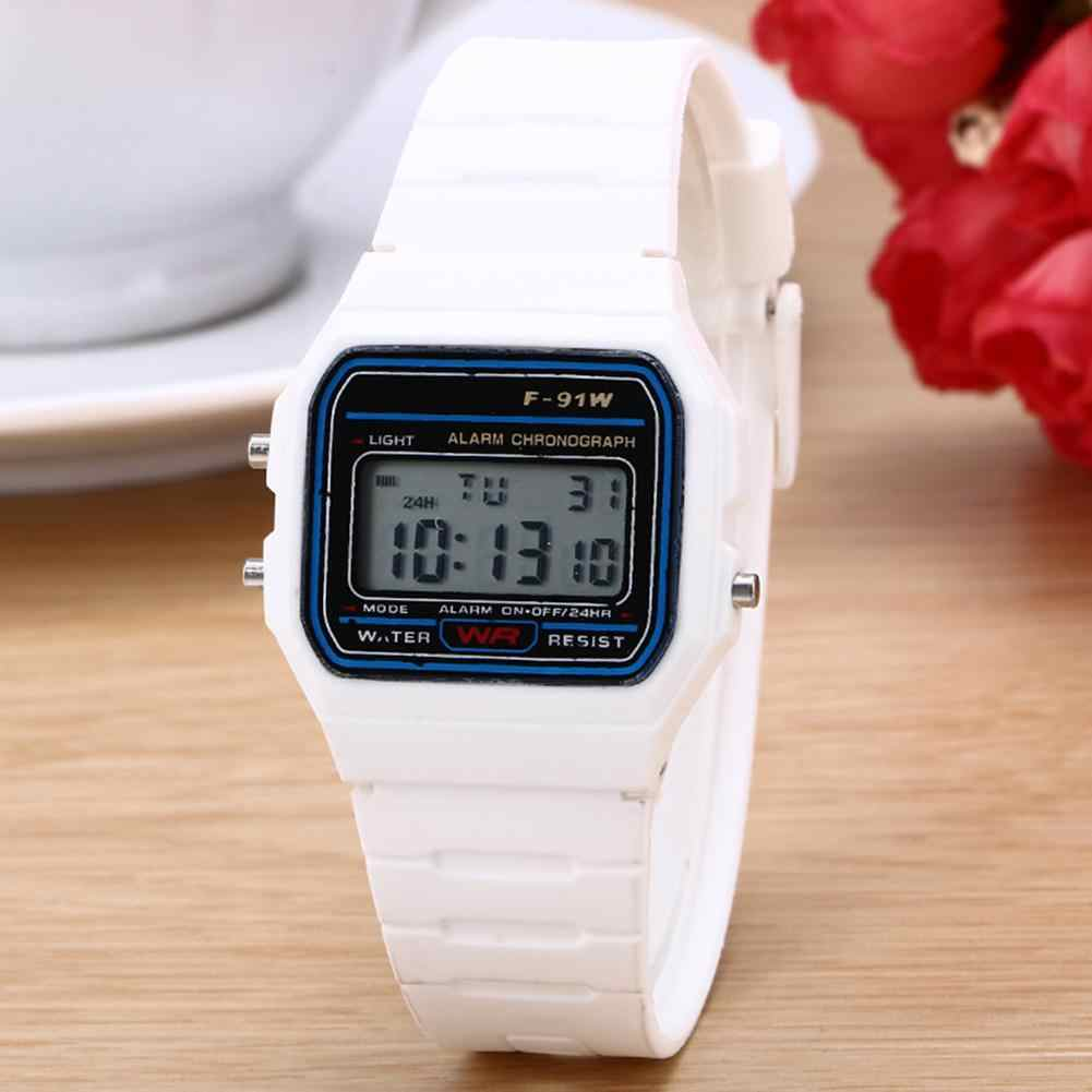 Persegi Digital Dial Plastik Band Tali Pergelangan Tangan Watch Olahraga Elektronik Alarm Clock Anak Square Watch