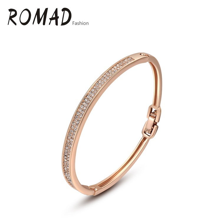 ROMAD Golden Color Row Crystal Bangle Gift Classic top zircon Crystals luxury Bracelet for party 2050006790