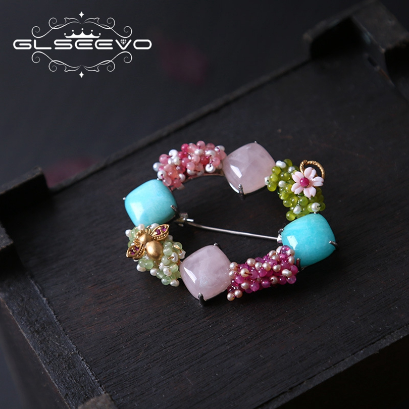 купить GLSEEVO 925 Sterling Silver Natural Pink Crystal Brooch Pins Amazonite Brooches For Women Gifts Dual Use Luxury Jewellery GO208 онлайн