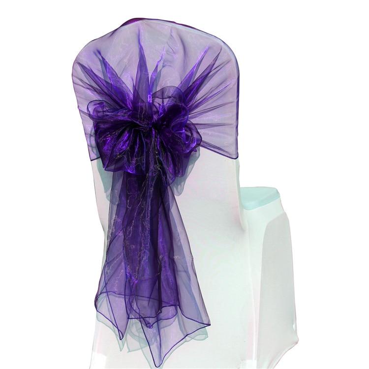 65200cm 100pcs Wedding Chair Sash Organza Fabric Chair Hood