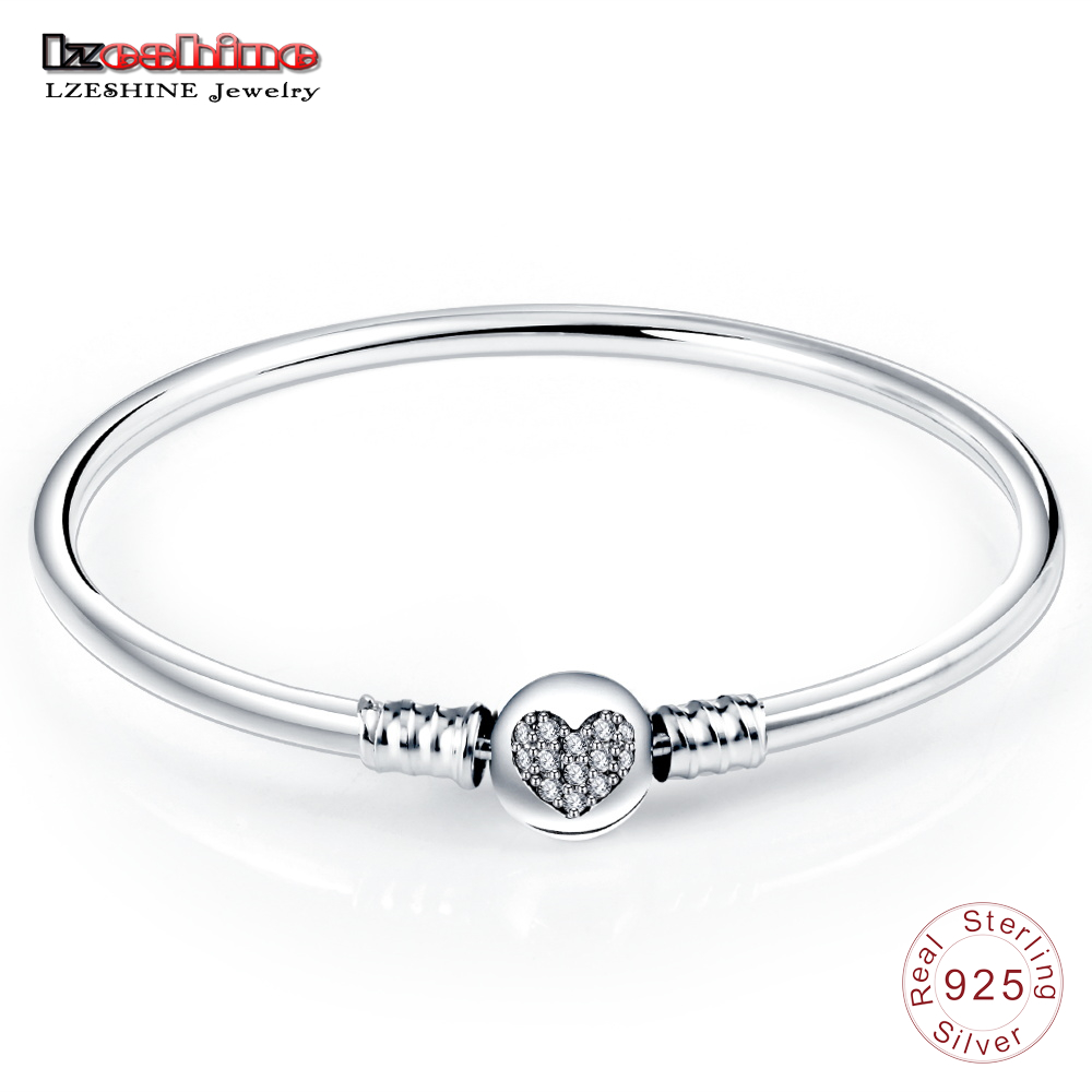 LZESHINE Classic Bangles Authentic 925 Sterling Silver Heart With CZ Clasp Bangle Bracelets For Women Jewelry bijoux PSBR0003