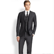 new Men's suits men suits custom groom suits tuxedos simple fashion formal business work suits(jacket+vest+pants)