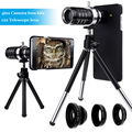9 unidades de la cámara kit photograpphy: trípode + cuatro impresionantes lentes + cover case para apple iphone 7 5 se 6 6 s 7 5S plus/5c/para s6 s7 borde +