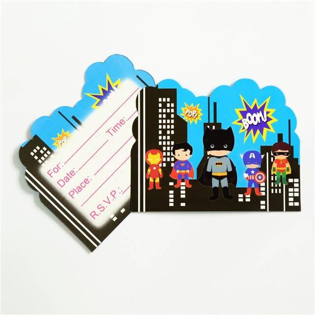 Online Shop 10pcs Lot Invitation Card Superman Ironman Avengers Batman Kids Birthday Party Supply Event Supplies Decoration Set