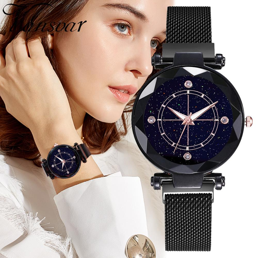 Wrist Watch Fashion Women Starry Sky Watch Convex Glass Quartz Mesh Magnetic Buckle Ladies Watch Montre Femme Relogio Femino