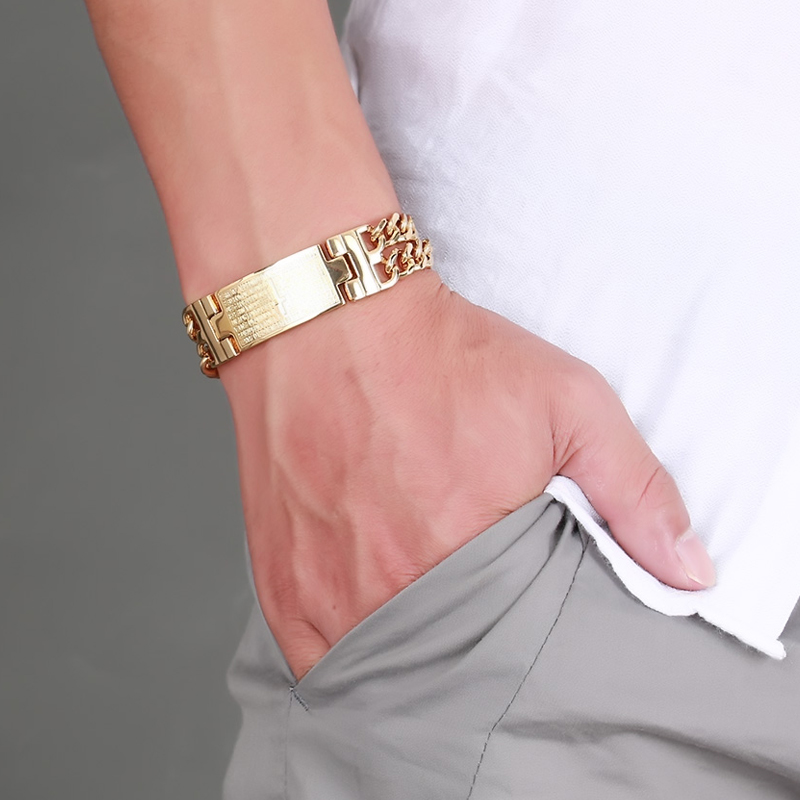 Vinterly Yellow Gold Color ID Bracelet Men 316l Stainless Steel - Fashion Jewelry - Photo 1