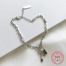 100% 925 Silver Creactive Fashion Key and Lock Charms Forever Bracelet Jewelry Gift for Girlfriend Lover