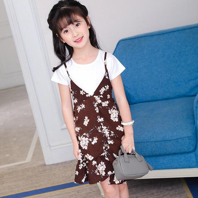 537ddedce1778 Fille robe 2019 été nouveau motif enfant vêtement Camisole mode enfants  Twinset tendance 2 pièces enfants