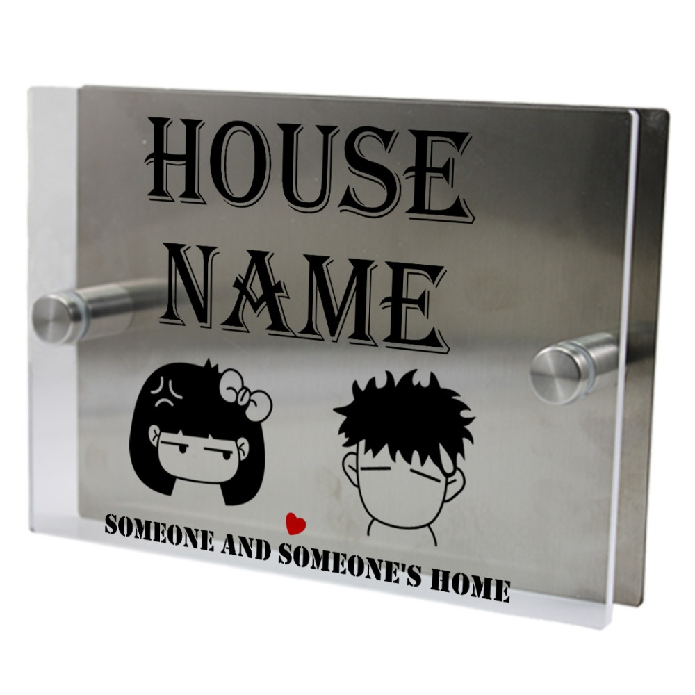Boys and girls outdoor signs personalized modern house address number door sign plaque street acrylic transparent glass top