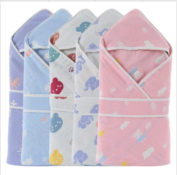 Baby Blanket Envelopes Newborns Kids Cotton Hooded Bath Toddler Hooded Towel Baby Cartoon Cocoon Swaddle Wrap Bathrobe Blanket