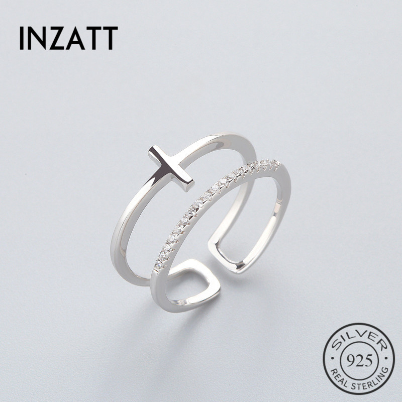 INZATT OL Geometric BRidal Cross Personality Ring 925 Sterling Silver For Women Birthday Party Fine Jewelry New 2018 Accessories