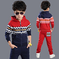 Crianças na primavera e no outono esportes menino terno crianças roupas de lã two-piece set de vermelho azul