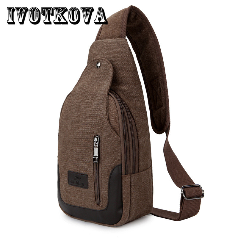 IVOTKOVA Fashion Canvas Chest  Pack Crossbody Bags Men Brand Small Male Shoulder Bag Casual Men's Messenger Bag fabra canvas chest pack men messenger bags flap casual male small retro camouflage shoulder bags multifunction