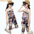 Malayu Baby brand 2017 summer girl Europe and the United States the new girl retro newspaper halter tops +7 pants two-piece