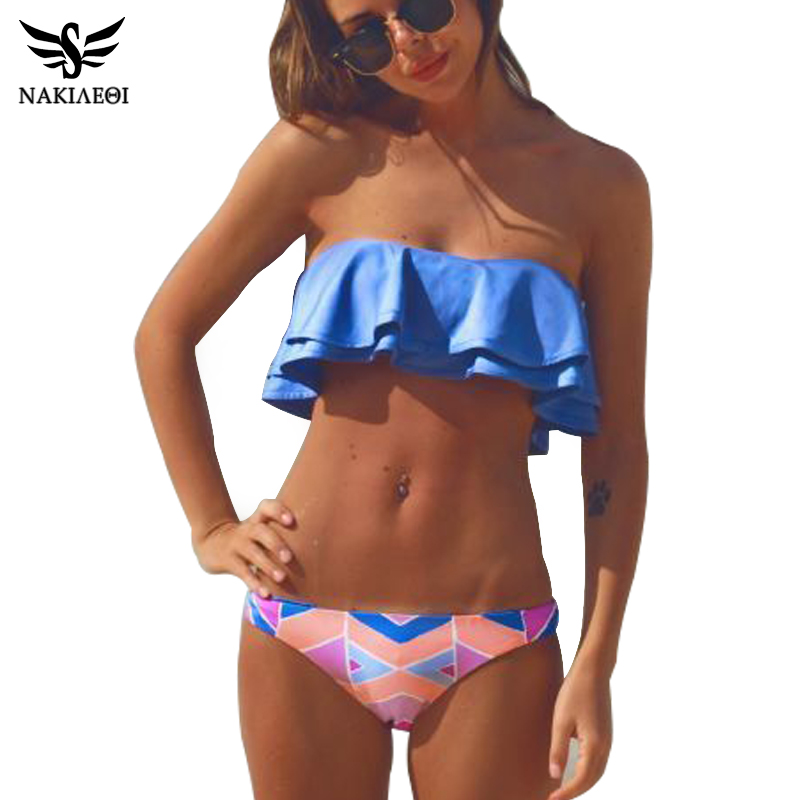 NAKIAEOI 2018 Sexy Bandeau Bikinis Women Swimsuit Brazilian Bikini Set Beach Bathing Suit Push Up Swimwear Hot Biquini Swim Wear