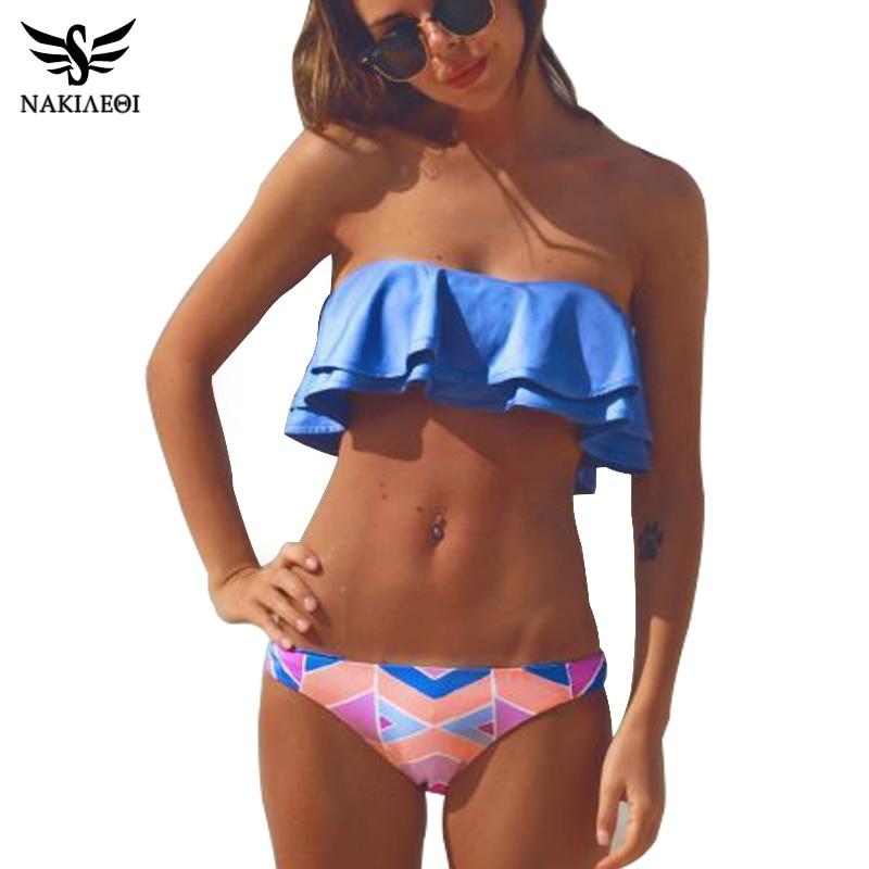 NAKIAEOI 2019 Sexy Bandeau Bikinis Women Swimsuit Brazilian Bikini Set Beach Bathing Suit Push Up Swimwear Hot Biquini Swim Wear