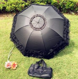 Image 5 - 結婚式のレースの紫外線防折りたたみ傘屋外サニー日傘王女のウェディング撮影小道具
