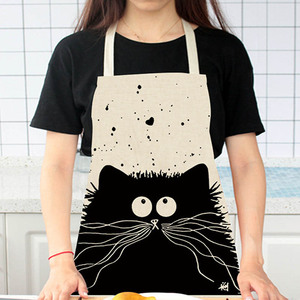 Image 5 - חמוד Cartoon חתול הדפסת מטבח סינר עמיד למים סינר כותנה פשתן Wasy לניקוי בית כלים 12 סגנונות לבחירה