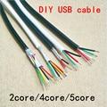 5 м/10 м/15/20 м, DIY UL2464 28 AWG 5 ядер, кабель для USB мыши, клавиатуры, кабель для передачи данных, 4 проводника, без защиты, внешний диаметр