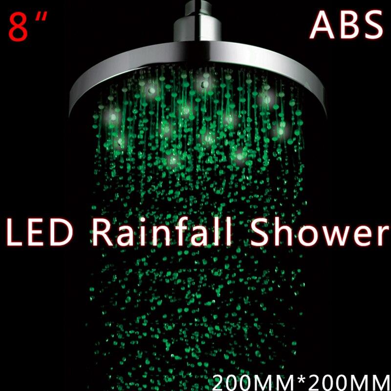 LED en laiton chromé de 8 pouces tête de douche ronde sans batterie