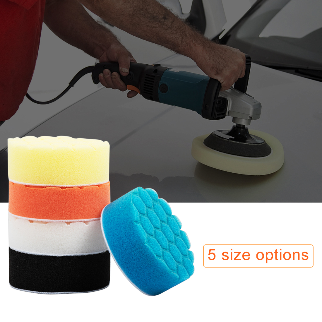 Hot Sale 5pcs 3/4/5/6/7 Inch Buffing Sponge Polishing Pad Hand Tool Kit For Car Polisher Wax