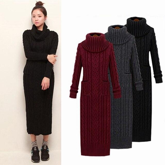 be989645d2ea9 2017new kore Kış Kadın Kazak Elbise Kore Yüksek Boyunlu Uzun Ince Büküm  Turtleneck Örme Triko Elbise