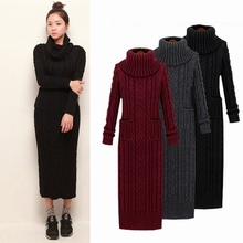 2017new korean Winter Women Sweater Dress Korean High-Necked Long Slim Twist Turtleneck Knitted Sweater Dress Women Winter Dress