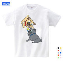 Summer Cartoon Puppy Dog Friends Print Tee Tops for Boy Girls Kids Clothes White Funny Kids T Shirt  Kids Dresses for Girls