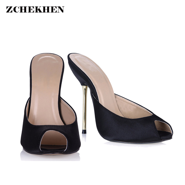 e4269a720cf Sexy silk leather Fashion Mules Shoes Woman peep toe Slingback Silver Pumps  gold high Heels Ladies Shoes