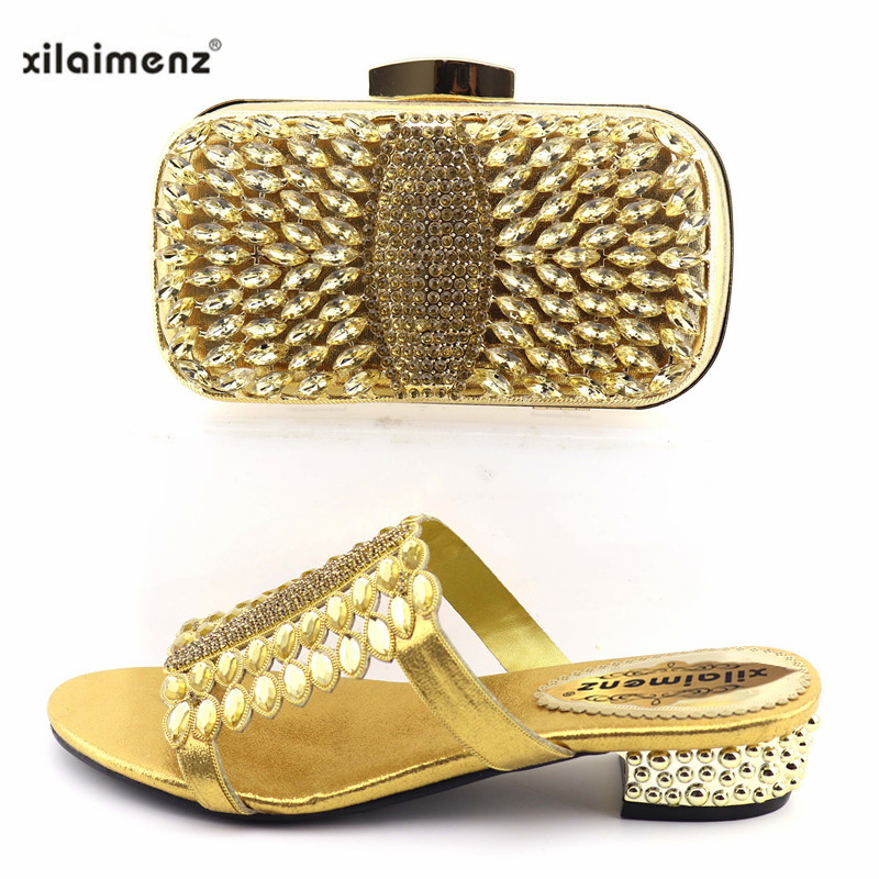 e273c84f0f4bd Gold Color Italian Shoes with Matching Bag Set Decorated with Crystal  African Women Slippers and Bag