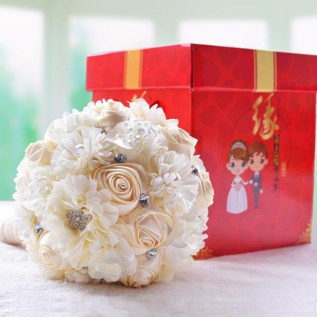 Арабский Стиль Жемчуг Цепи Красный и Белый Свадебные Букеты Романтические Свадебные Аксессуары Искусственный Невеста, Холдинг Цветы Подарочной Коробке