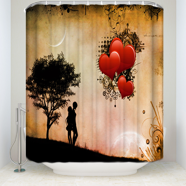 Memory Home Valentines Day Shower Curtain Love Bathroom Decor Romantic Couple Waterproof Polyester Fabric Bath Curtains