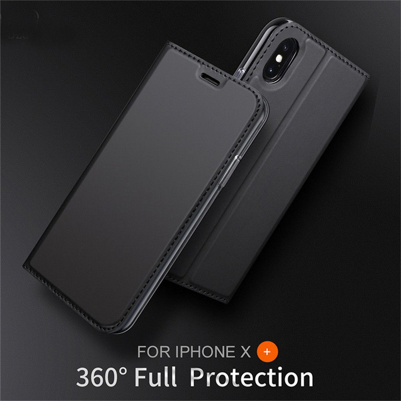 Ultra Thin Magnetic Smooth Leather Soft Flip Book Wallet Case For Coque iPhone X 8 6